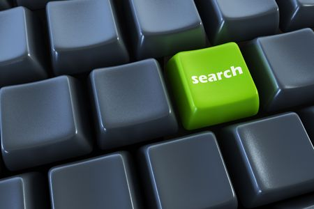 search button: keyboard with search button 3d rendering Stock Photo