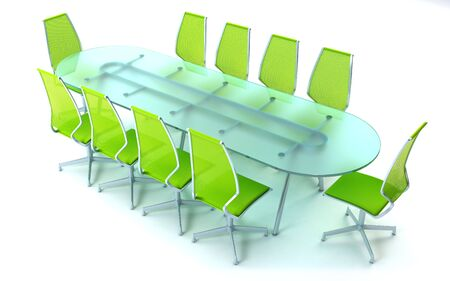 boardroom: boardroom with table and chairs 3d rendering on white background