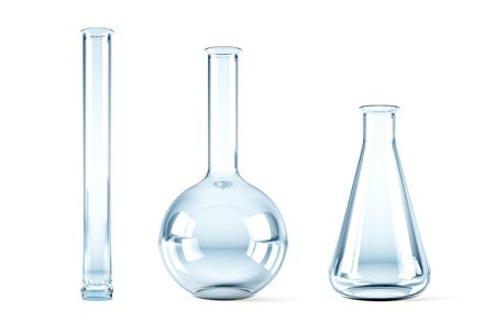 isolated 3d rendering of the empty chemical flasks photo