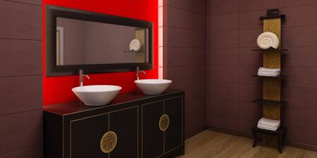 washbowl: 3d rendering of the asian bathroom Stock Photo