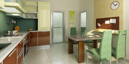 modern kitchen interior 3d rendering Stock Photo - 3741895