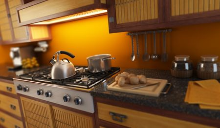 3d rendering close-up view of modern kitchen with small depth of field photo