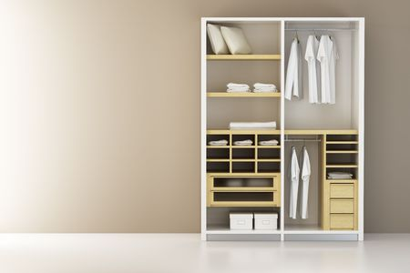 clothes rack: Inside the modern closet 3d rendering Stock Photo