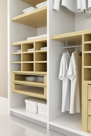 white clothes: Inside the modern closet 3d rendering Stock Photo