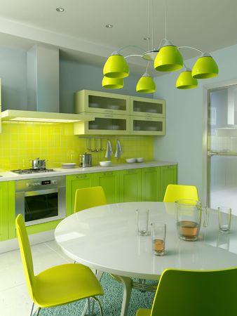 modern kitchen interior 3d rendering Stock Photo - 3924754
