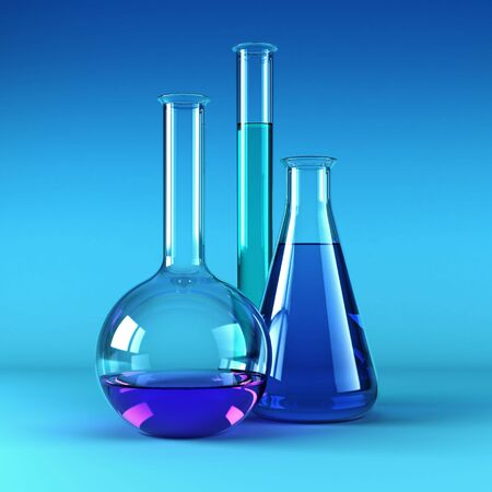 chemical flasks with reagents 3d rendering