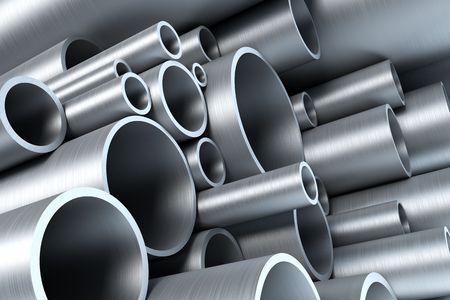 tubing: stack of steel tubing 3d rendering