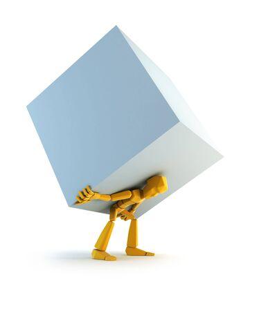 laden: 3D rendering des symbolischen Mannes mit Load