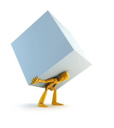 carga: Representaci�n 3d del hombre con la carga simb�lica