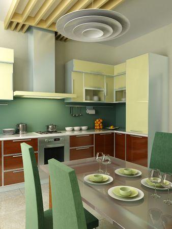 modern kitchen inter 3d rendering Stock Photo - 3932602