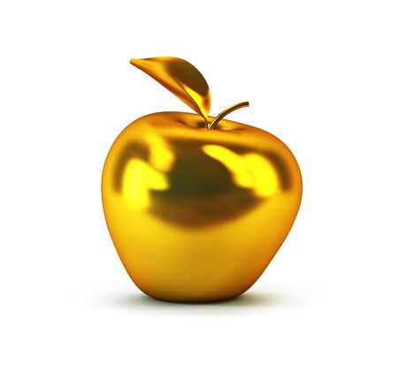 golden apple: golden 3d apple isolated rendering