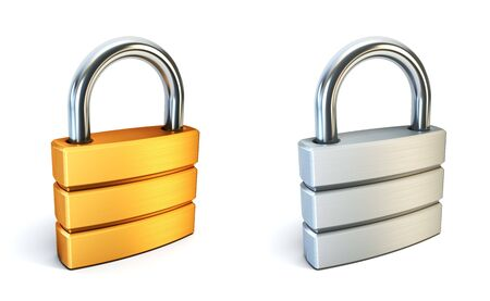 metall closed lock isolated 3d rendering photo