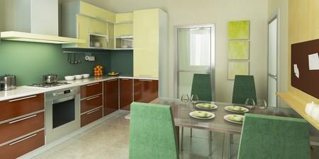 modern kitchen interior 3d rendering Stock Photo - 4296255