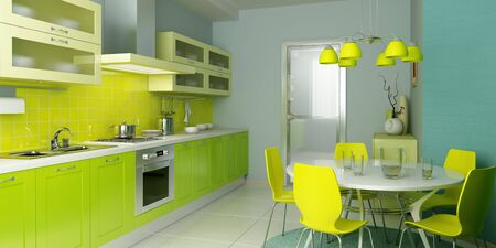 modern kitchen interior 3d rendering Stock Photo - 4296245