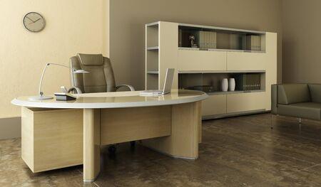 office furniture: modern office interior 3d rendering