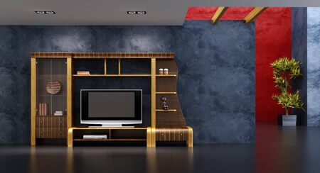 3d interior with modern bookshelf with TV