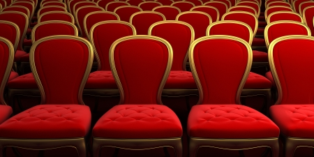 occupied: concert hall with red seat Stock Photo