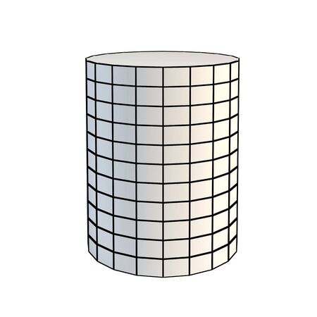 faceted white 3d cylinder photo