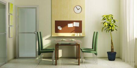 modern dining-room inter 3d rendering Stock Photo - 4452768