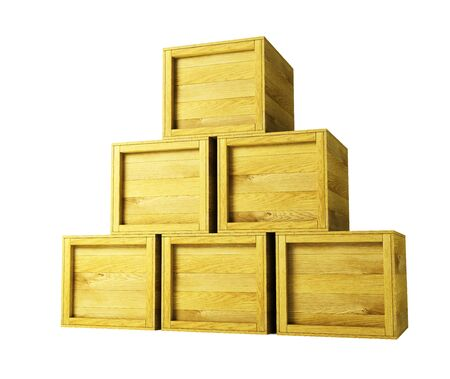 wooden lid: several wooden crates 3d rendering Stock Photo
