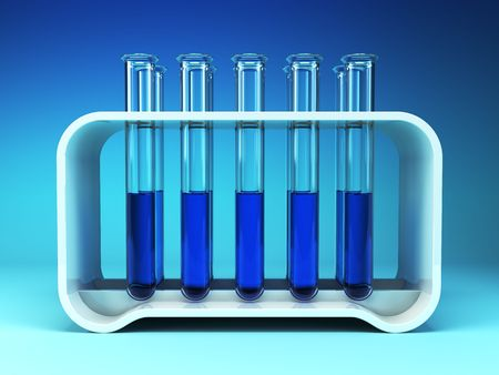 reagents: chemical flasks with reagents 3d rendering