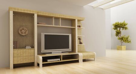 3d interior with modern bookshelf with TV Stock Photo - 4631264