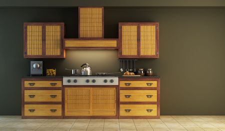 ambience: modern kitchen interior 3d rendering Stock Photo