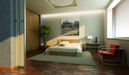 bedroom interior: japan style bedroom interior 3d rendering Stock Photo