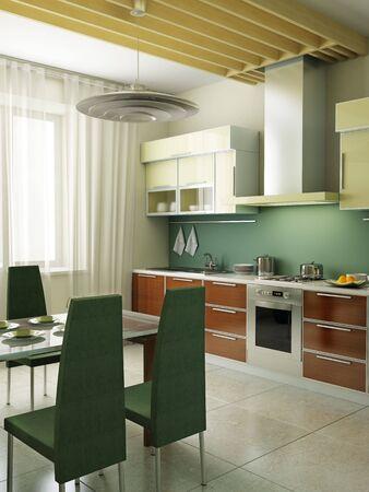 modern kitchen interior 3d rendering Stock Photo - 4631271