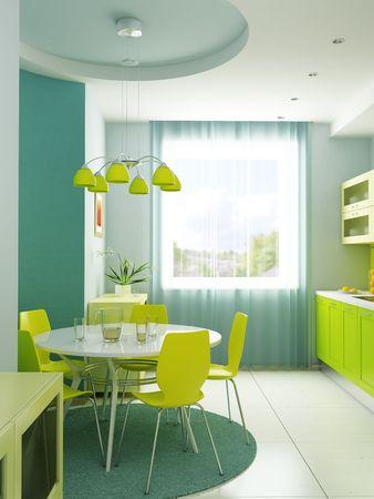 modern kitchen interior 3d rendering Stock Photo - 4631261