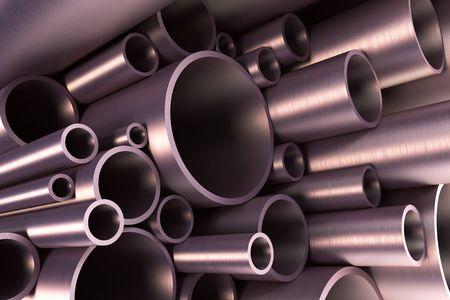 stack of steel tubing 3d rendering Stock Photo - 4631266