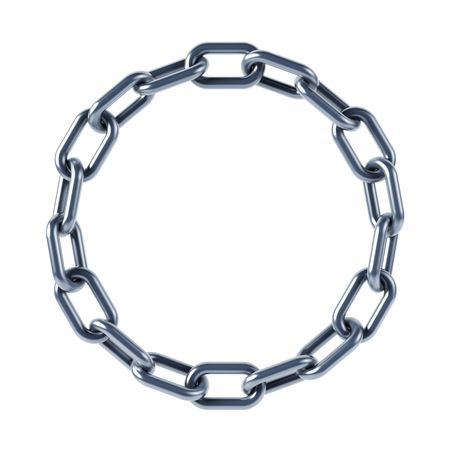 steel chain: isolated chain links 3d rendering