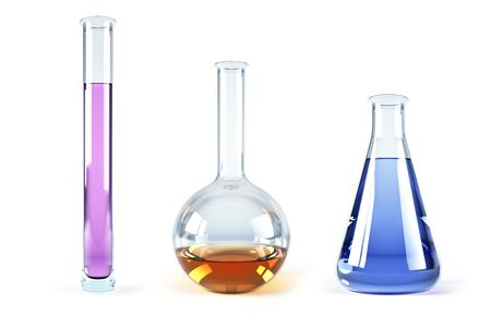 retort: isolated 3d rendering of the chemical flasks Stock Photo
