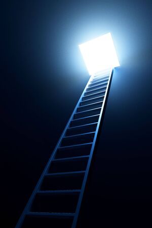 3d ladder leading to out Stock Photo