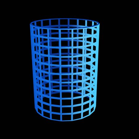 faceted: faceted blue 3d cylinder Stock Photo
