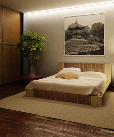 japan style bedroom interior 3d rendering Stock Photo
