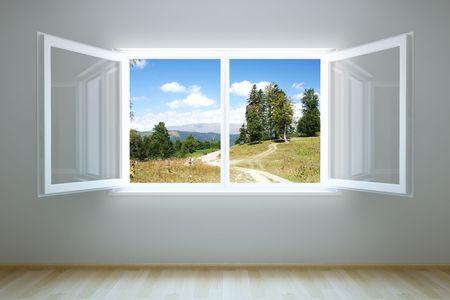 open window: representaci�n 3D la habitaci�n vac�a con abre ventana