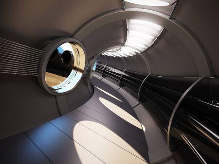 futuristic interior: futuristic modern interior 3d rendering
