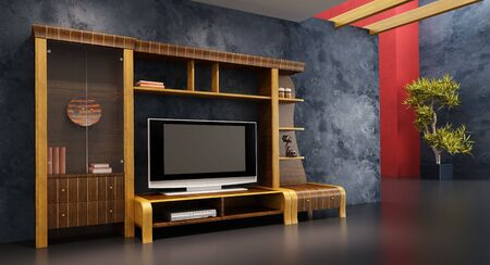 3d interior with modern bookshelf with TV photo