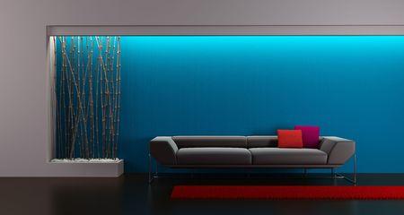 3d rendering of modern lounge room photo