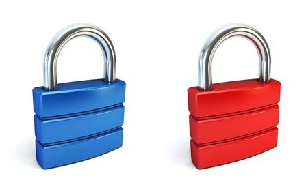 metal closed lock isolated 3d rendering photo