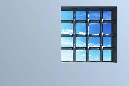 confinement: prisons window 3d rendering