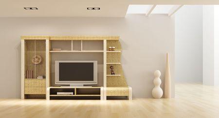 3d interior with modern bookshelf with TV Stock Photo - 5344129