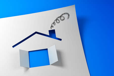 symbolic: Symbolic paper house 3d rendering   Stock Photo