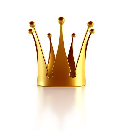Isolated golden crown 3d rendering photo