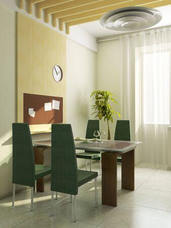 modern kitchen interior 3d rendering Stock Photo - 5511425