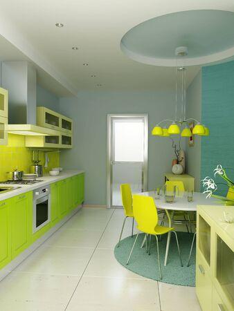 modern kitchen interior 3d rendering Stock Photo - 5511424