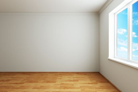 3d rendering the empty room with window photo