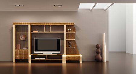3d interior with modern bookshelf with TV Stock Photo - 5723646