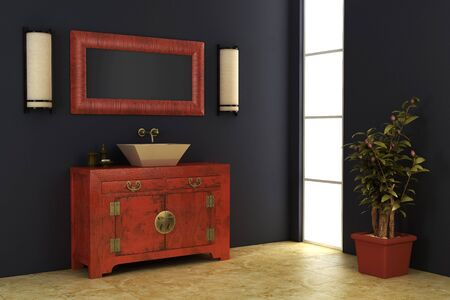 3d rendering of the Chinese bathroom photo